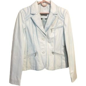 boutique of leathers Light Blue Leather Jacket